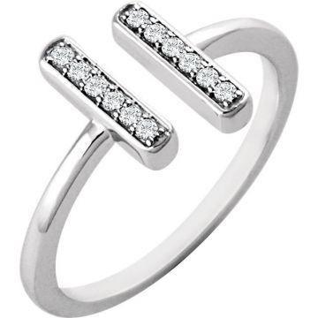 14k White Gold Diamond Vertical Bar Ring