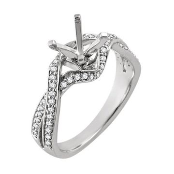 14k White Gold Diamond Semi-mounting Open Twist Engagement Ring
