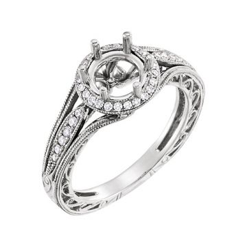 14k White Round Diamond Semi-mounting Engagement Ring