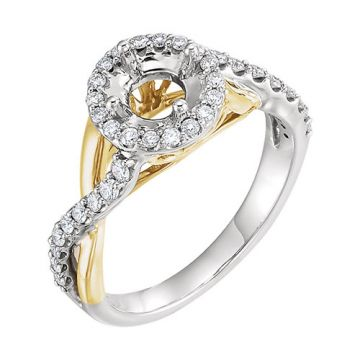 14k Two-Tone Round Diamond Semi-mounting Engagement Ring