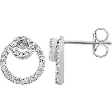 14k White Gold Diamond Circle Earrings