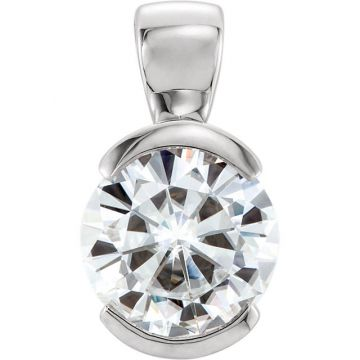 14k White Gold Round Solitaire Forever One Moissanite Pendant