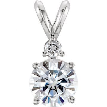 14k White Gold Forever One Moissanite & Diamond Accented Pendant
