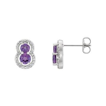 14k White Amethyst & Diamond Earrings