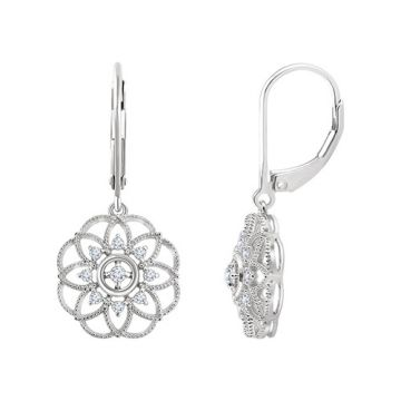 14k White Gold Diamond Granulated Filigree Earrings