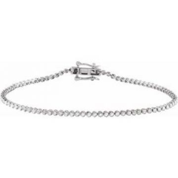 "14K White 7/8 CTW Diamond Line 7""  Bracelet"