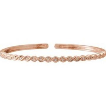 14K Rose 1/6 CTW Diamond Stackable Bangle Bracelet