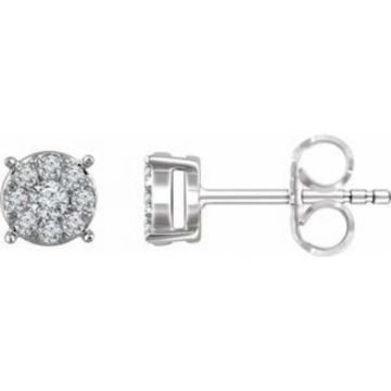 14K White 1/4 CTW Diamond Cluster Stud Earrings