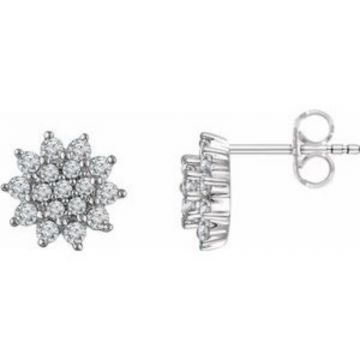 14K White 1/2 CTW Diamond Cluster Stud Earrings