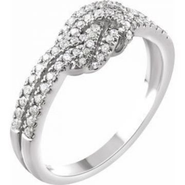 14K White 1/3 CTW Diamond Knot Ring