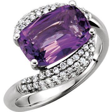14k White Gold Amethyst and Diamond Fashion Ring