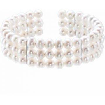"Sterling Silver Freshwater Cultured Pearl Cuff 7 1/2"" Bracelet"