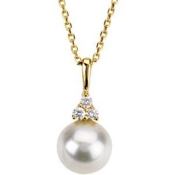 "14K Yellow Freshwater Cultured Pearl & .06 CTW Diamond 18"" Necklace"