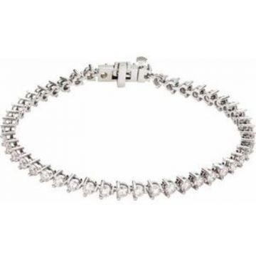 "14K White 4 3/4 CTW Lab-Grown Diamond Line 7 1/4"" Bracelet"