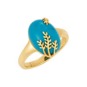 14k Yellow Gold Chinese Turquoise Leaf Ring