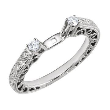 14k White Diamond Hand Engraved Engagement Ring