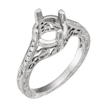14k White Gold Diamond Semi-mounting Engagement Ring