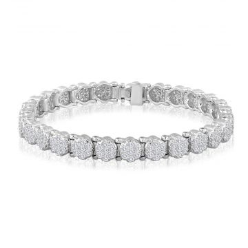 14k White Gold 3 3/4ct Diamond Cluster Bracelet