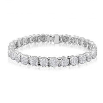 14k White Gold 3 3/4ct Diamond Cluster Bracelet