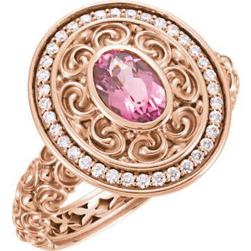 14k Rose Gold Pink Tourmaline and Diamond Fashion Ring