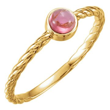 14k Yellow Gold Pink Tourmaline Rope Stackable Ring