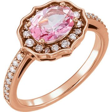 14k Rose Gold 1/3ct Diamond and Pink Topaz Ring