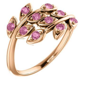14k Rose Gold Pink Topaz Leaf Ring