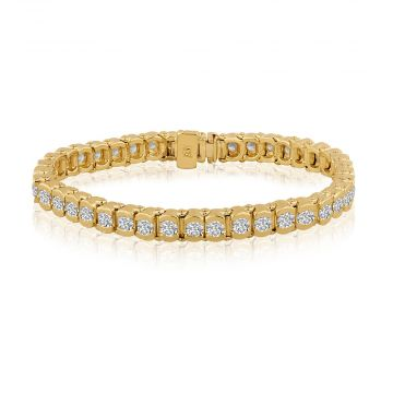 14k Yellow Gold 5ct Diamond Semi-Bezels Tennis Bracelet