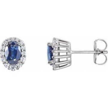 14K White Blue Sapphire & 1/3 CTW Diamond Cluster Earrings