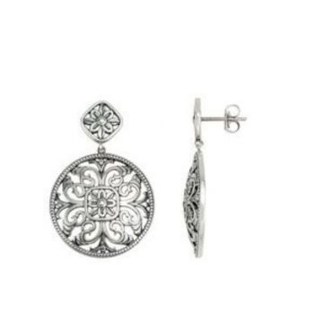 Sterling Silver & 14K White 31.4x21.5 mm Geometric Filigree Earrings