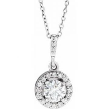 "14K White 5/8 CTW Diamond Halo-Style 18"" Necklace"