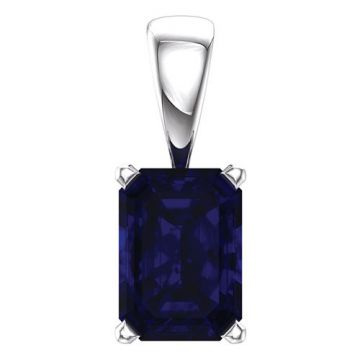 14k  White Gold Chatham® Created Blue Sapphire Pendant