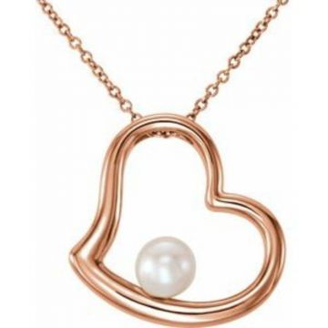 "14K Rose Freshwater Cultured Pearl Heart 18"" Necklace"