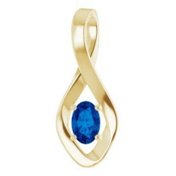 14K Yellow Blue Sapphire Pendant