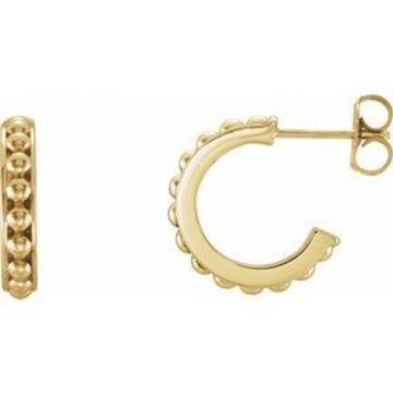 14K Yellow 15 mm Beaded Hoop Earrings