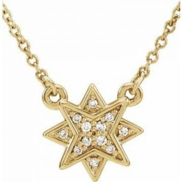 "14K Yellow .04 CTW Diamond Star 16-18""  Necklace"