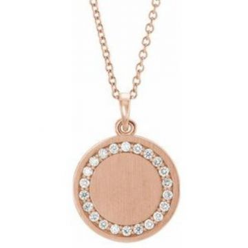 "14K Rose 1/5 CTW Diamond Engravable 16-18"" Necklace"