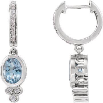 14k White Gold Aquamarine and 1/6ct Diamond Earrings