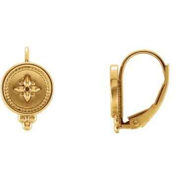 14k Yellow Gold Beaded Lever Back Earrings