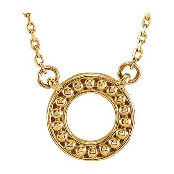 14k Yellow Gold Beaded Circle Necklace