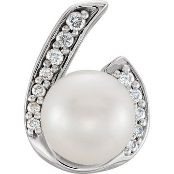 14k White Gold Pearl and .07ct Diamond Pendant