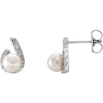 14k White Gold Freshwater Pearl Diamond Earrings