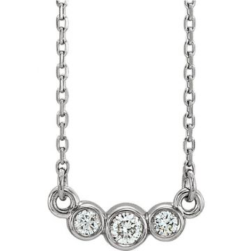 14k White Gold Diamond Bezel Set Necklace