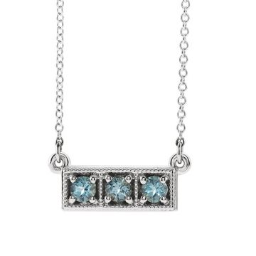 14k White Aquamarine Three-Stone Granulated Bar Necklace
