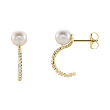 14k Yellow Freshwater Cultured Pearl & Diamond Earrings