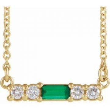 "14K Yellow Emerald & 1/5 CTW Diamond 18"" Necklace"