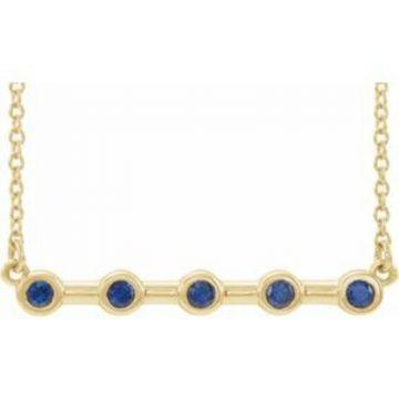 """14K Yellow Blue Sapphire Bezel-Set Bar 18"""" Necklace"""