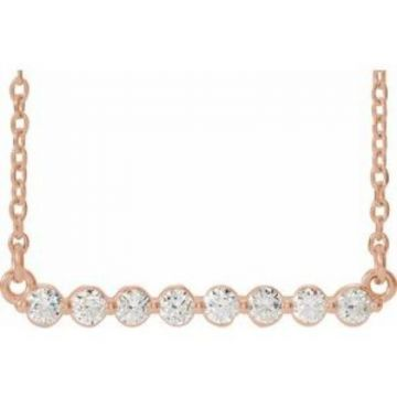 "14K Rose 1/4 CTW Lab-Grown Diamond Bar 18"" Necklace"