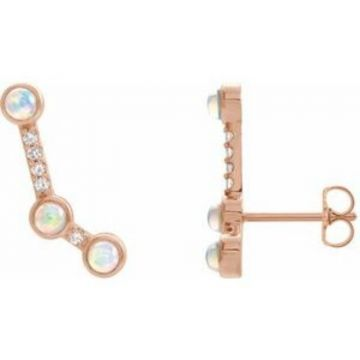 14K Rose Ethiopian Opal & .08 CTW Diamond Ear Climbers