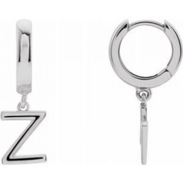 14K White Single Initial Z Earring